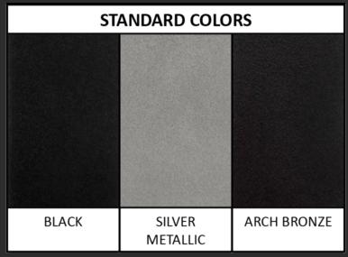 MP Series barn door hardware color samples: black, silver, arch bronze