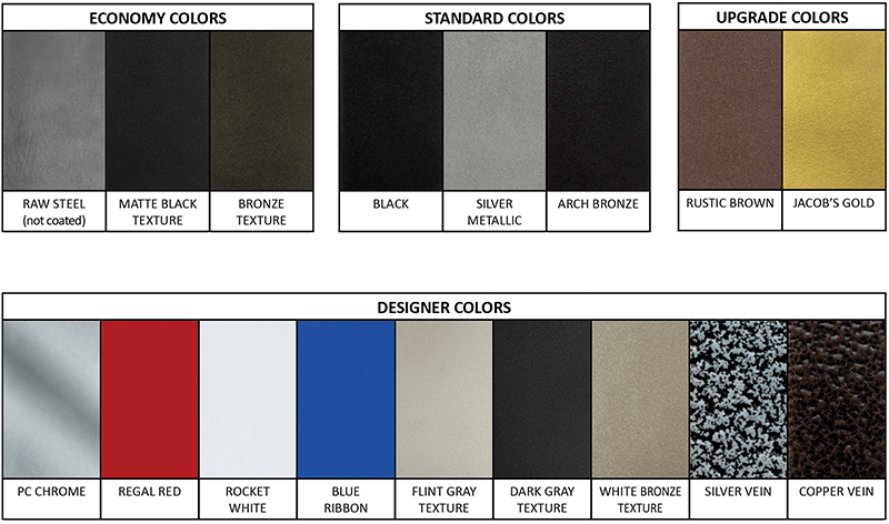 color sample chart of 17 available colors of Goldberg Brothers barn door hardware