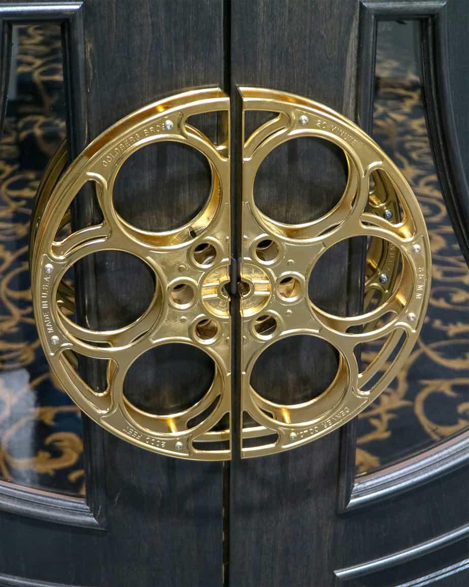 gold plated 35mm film reel door pulls