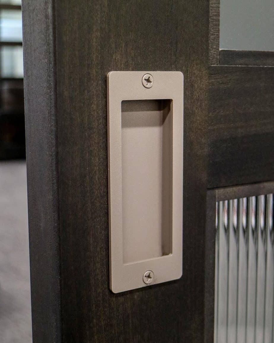 steel flush pull handle on office barn door