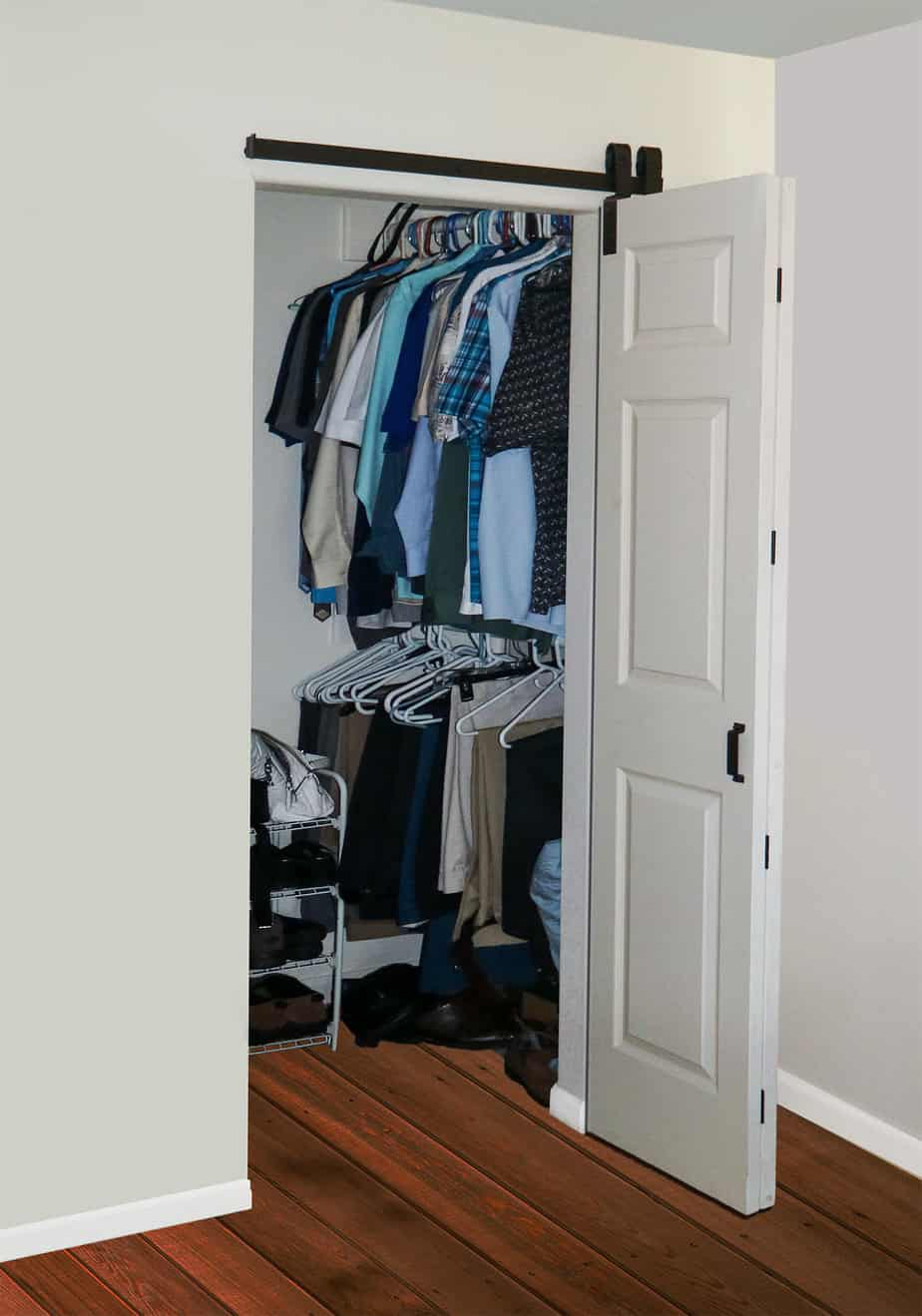 open closet with folding barn doors